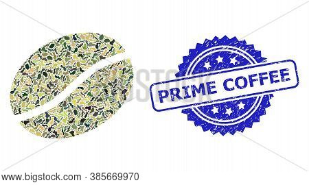 Military Camouflage Combination Of Coffee Bean, And Prime Coffee Textured Rosette Seal. Blue Seal Co