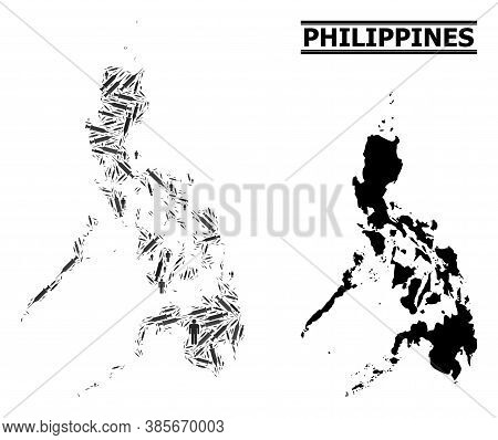 Covid-2019 Treatment Mosaic And Solid Map Of Philippines. Vector Map Of Philippines Is Shaped With I