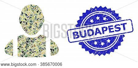 Military Camouflage Composition Of Worker, And Budapest Scratched Rosette Seal Imitation. Blue Stamp