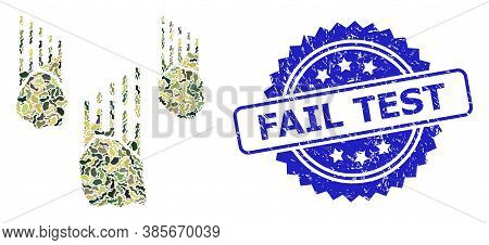Military Camouflage Composition Of Falling Rocks, And Fail Test Scratched Rosette Stamp. Blue Stamp