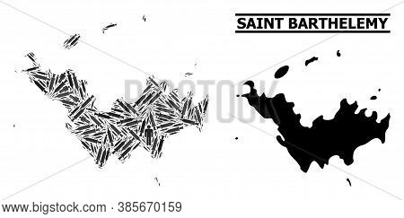 Inoculation Mosaic And Solid Map Of Saint Barthelemy. Vector Map Of Saint Barthelemy Is Designed Of