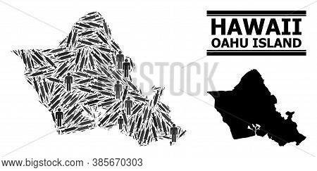 Inoculation Mosaic And Solid Map Of Oahu Island. Vector Map Of Oahu Island Is Designed From Vaccine