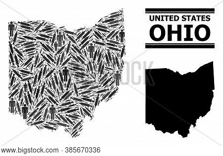 Virus Therapy Mosaic And Solid Map Of Ohio State. Vector Map Of Ohio State Is Designed From Syringes