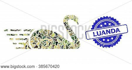 Military Camouflage Combination Of Swan, And Luanda Unclean Rosette Seal. Blue Seal Includes Luanda