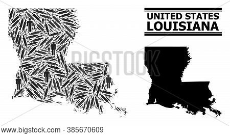 Inoculation Mosaic And Solid Map Of Louisiana State. Vector Map Of Louisiana State Is Formed With In