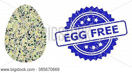 Military Camouflage Composition Of Egg, And Egg Free Grunge Rosette Stamp Seal. Blue Stamp Seal Has