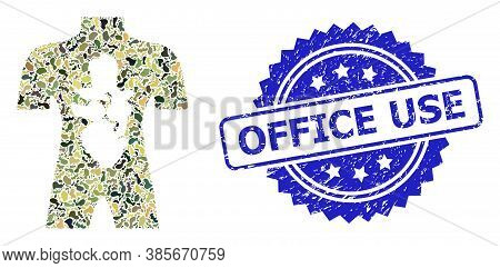Military Camouflage Combination Of Human Anatomy, And Office Use Corroded Rosette Stamp. Blue Stamp