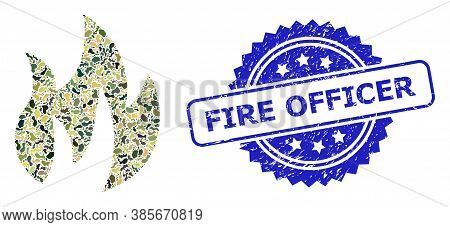 Military Camouflage Combination Of Fire, And Fire Officer Rubber Rosette Stamp Seal. Blue Stamp Seal