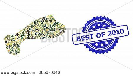 Military Camouflage Collage Of Spot, And Best Of 2010 Corroded Rosette Stamp Seal. Blue Stamp Seal H