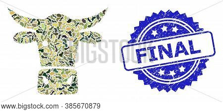 Military Camouflage Combination Of Cow Head, And Final Textured Rosette Stamp Seal. Blue Stamp Seal