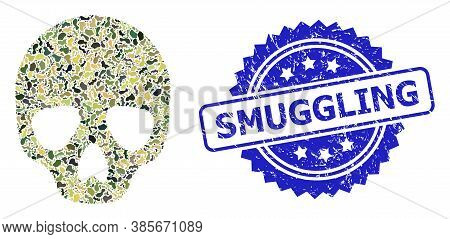 Military Camouflage Collage Of Skull, And Smuggling Corroded Rosette Stamp Seal. Blue Stamp Seal Has
