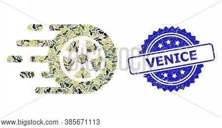 Military Camouflage Collage Of Car Wheel, And Venice Unclean Rosette Stamp Seal. Blue Stamp Seal Con