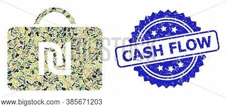 Military Camouflage Collage Of Shekel Case, And Cash Flow Grunge Rosette Seal. Blue Seal Includes Ca