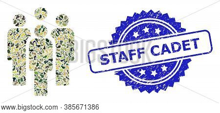 Military Camouflage Collage Of Staff, And Staff Cadet Dirty Rosette Seal. Blue Stamp Seal Contains S