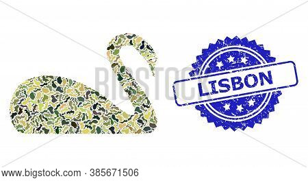 Military Camouflage Combination Of Swan, And Lisbon Unclean Rosette Watermark. Blue Stamp Contains L