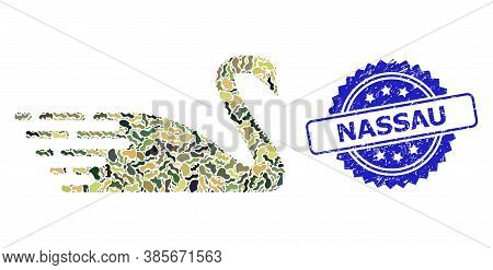 Military Camouflage Composition Of Swan, And Nassau Textured Rosette Seal Imitation. Blue Stamp Seal