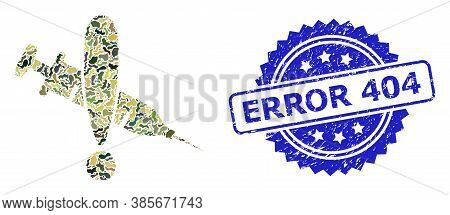 Military Camouflage Collage Of Danger Vaccine, And Error 404 Dirty Rosette Seal Imitation. Blue Stam