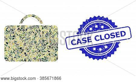 Military Camouflage Collage Of Case, And Case Closed Corroded Rosette Stamp Seal. Blue Stamp Include