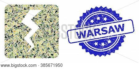 Military Camouflage Combination Of Thunder Crack, And Warsaw Textured Rosette Watermark. Blue Stamp