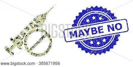 Military Camouflage Composition Of No Vaccine, And Maybe No Corroded Rosette Watermark. Blue Stamp S