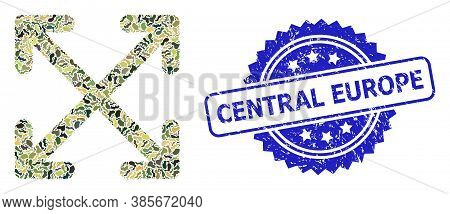 Military Camouflage Composition Of Enlarge Arrows, And Central Europe Scratched Rosette Stamp. Blue