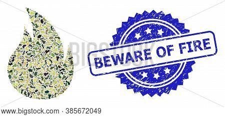 Military Camouflage Composition Of Fire, And Beware Of Fire Rubber Rosette Stamp Seal. Blue Stamp Se