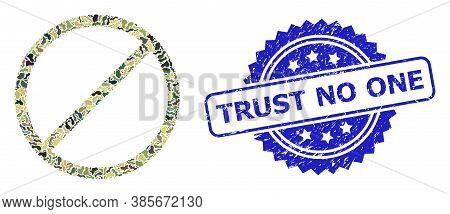 Military Camouflage Collage Of Restrict, And Trust No One Unclean Rosette Stamp Seal. Blue Stamp Sea
