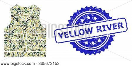 Military Camouflage Composition Of Yellow Vest, And Yellow River Grunge Rosette Seal Print. Blue Sea