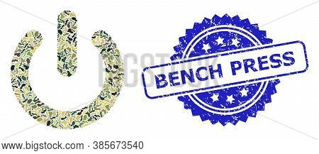 Military Camouflage Combination Of Turn Off, And Bench Press Rubber Rosette Seal Print. Blue Seal In