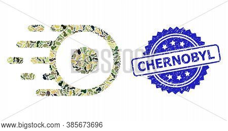 Military Camouflage Combination Of Core Flight, And Chernobyl Scratched Rosette Stamp Seal. Blue Sta