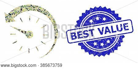 Military Camouflage Combination Of Time Backward, And Best Value Scratched Rosette Stamp Seal. Blue