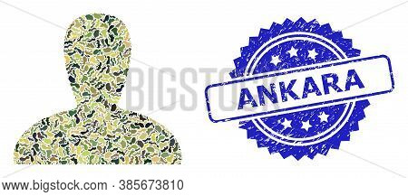 Military Camouflage Collage Of Spawn Persona, And Ankara Dirty Rosette Seal Print. Blue Stamp Seal I