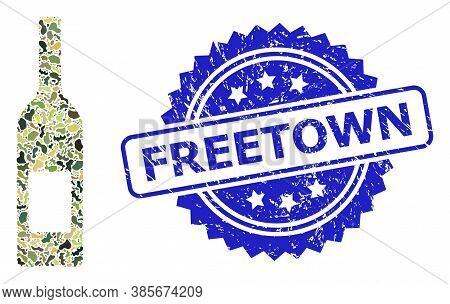 Military Camouflage Combination Of Wine Bottle, And Freetown Dirty Rosette Stamp Seal. Blue Stamp Se