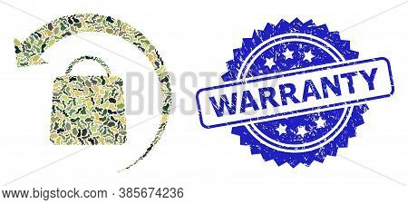 Military Camouflage Collage Of Refund Shopping, And Warranty Scratched Rosette Stamp Seal. Blue Stam