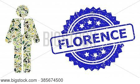 Military Camouflage Composition Of Groom, And Florence Scratched Rosette Stamp Seal. Blue Stamp Seal