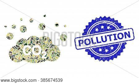 Military Camouflage Combination Of Co2 Gas Emission, And Pollution Scratched Rosette Seal Print. Blu