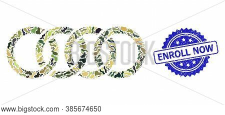 Military Camouflage Collage Of Circle Chain, And Enroll Now Unclean Rosette Stamp. Blue Stamp Seal H