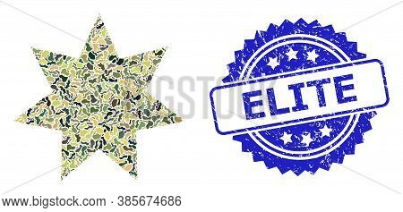 Military Camouflage Composition Of Eight Corner Star, And Elite Textured Rosette Stamp Seal. Blue St