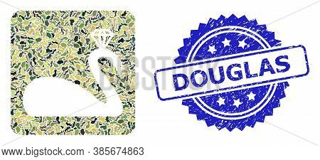 Military Camouflage Collage Of Crowned Swan, And Douglas Corroded Rosette Stamp. Blue Stamp Seal Has