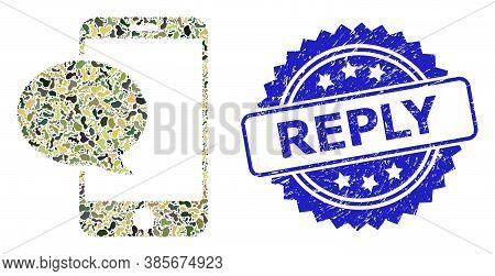 Military Camouflage Composition Of Smartphone Message, And Reply Dirty Rosette Stamp Seal. Blue Stam