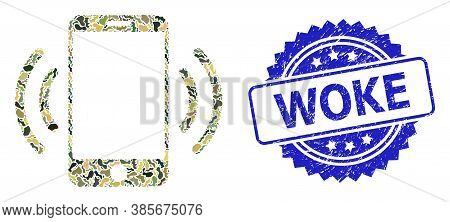 Military Camouflage Combination Of Cellphone Vibration, And Woke Rubber Rosette Stamp Seal. Blue Sta
