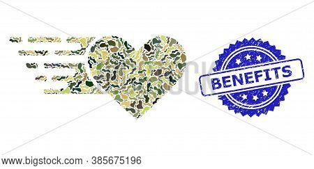 Military Camouflage Collage Of Love Heart, And Benefits Scratched Rosette Stamp. Blue Stamp Contains