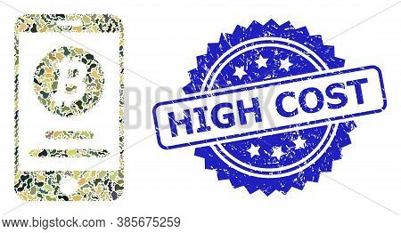 Military Camouflage Combination Of Mobile Bitcoin Account, And High Cost Scratched Rosette Seal Imit