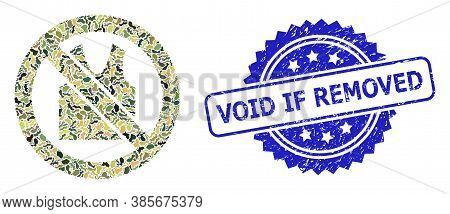 Military Camouflage Collage Of Forbidden Open Clothes, And Void If Removed Unclean Rosette Stamp Sea