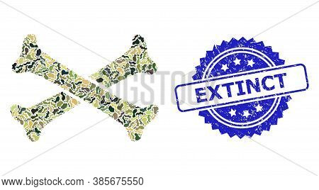 Military Camouflage Combination Of Crossing Bones, And Extinct Dirty Rosette Stamp Seal. Blue Stamp