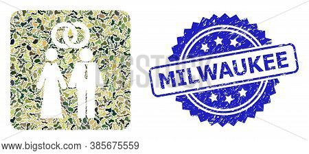 Military Camouflage Combination Of Marriage Persons, And Milwaukee Rubber Rosette Seal Imitation. Bl