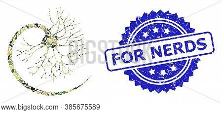 Military Camouflage Composition Of Neuron, And For Nerds Rubber Rosette Stamp Seal. Blue Seal Has Fo