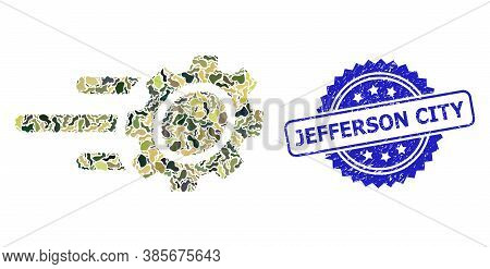 Military Camouflage Composition Of Rush Gear, And Jefferson City Rubber Rosette Stamp Seal. Blue Sta