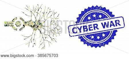 Military Camouflage Collage Of Neuron Digital Interface, And Cyber War Grunge Rosette Seal Imitation