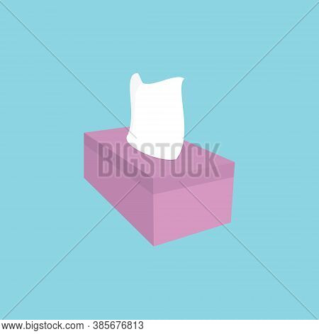 Tissue, Pink Tissue Box Isolated On Blue Background, Used For The Kitchen. Tissue Box Illustration D